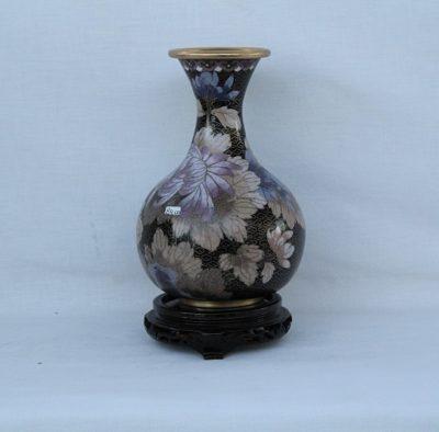 Βάζο Κίνας cloisone Μαύρο με λιλά άνθη