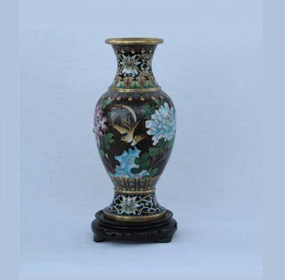 Βάζο Κίνας cloisone Μαύρο με λουλούδια