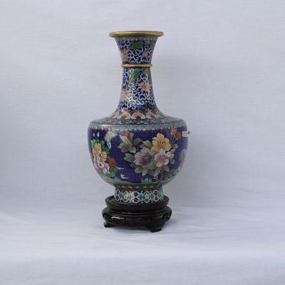 Βάζο Κίνας cloisonne μπλε λουλούδια