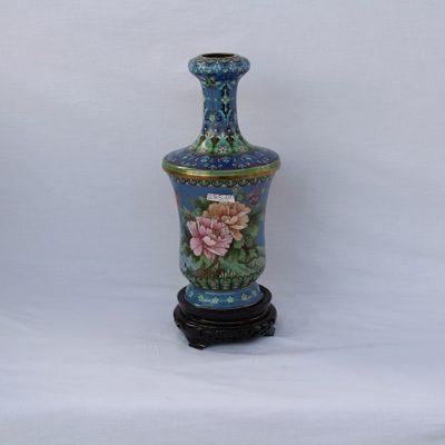 Βάζο Κίνας cloisonne σιέλ λουλούδια