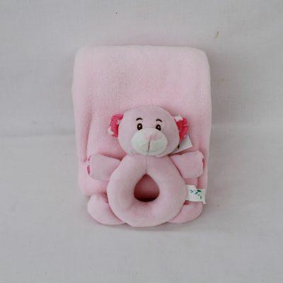 Βρεφικό σετ κουβερτούλα αγκαλιάς ροζ με κουδουνίστρα