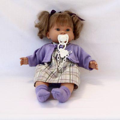 Ισπανική κούκλα μωρό μωβ απο βινύλιο 43 cm LIorens