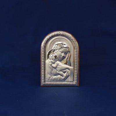 Μικρή ασημένια εικόνα της Παναγίας με το βρέφος