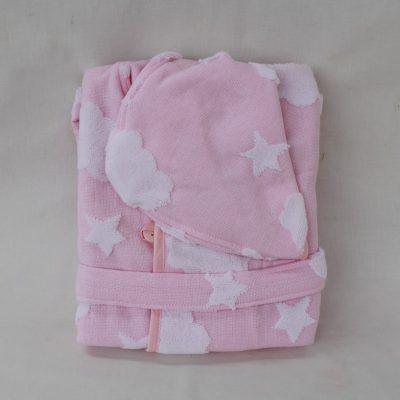 Μπουρνούζι παιδικό Stars Clouds ροζ
