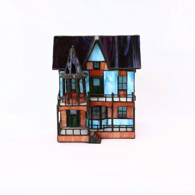 Φωτιστικό βιτρό επιτραπέζιο σπιτάκι (τύπου Tiffany's)