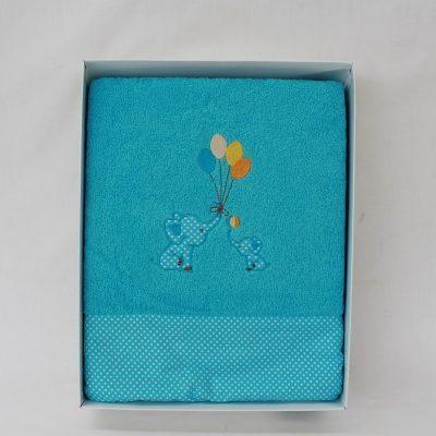 Παιδικές πετσέτες σετ2 τιρκουάζ με σχέδιο Ελεφαντάκι