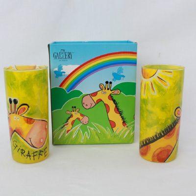 Ποτήρια νερού, με σχέδιο Καμηλοπάρδαλη με έντονα χρώματα,σετ 2τεμ.