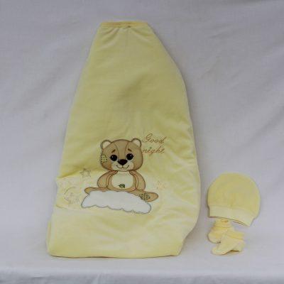 Υπνόσακος κουβέρτα σε χρώμα κίτρινο με αρκουδάκι