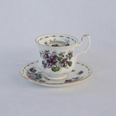 Royal Albert Flower of the month φλιτζάνι-πιατάκι καφέ Φεβρουάριος
