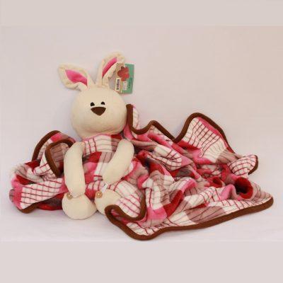 Κουβερτούλα αγκαλιάς με ροζ χαριτωμένο κουνελάκι