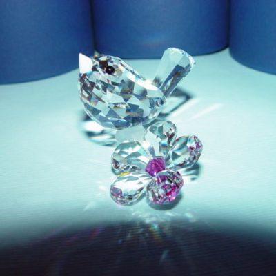 Λουλούδι με πουλάκι κρύσταλλο Swarovski Silver Crystal