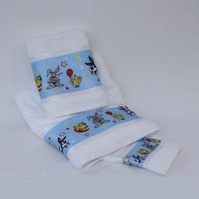 Παιδικές πετσέτες καρτούν σιέλ σετ 3 τεμαχίων