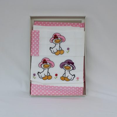 Σεντόνια κούνιας σετ 3τεμαχίων Pink Duck γαλλικής εταιρείας
