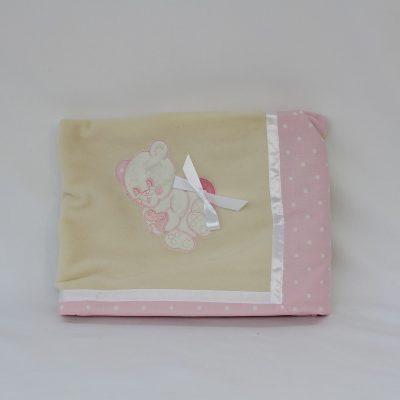 Κουβερτούλα αγκαλιάς μάλλινη με κέντημα ροζ αρκουδάκι