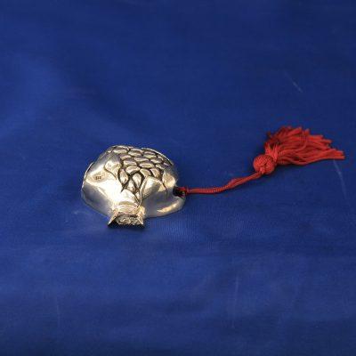 Ασημένιο ρόδι γούρι κρεμαστό με φούντα Ελληνικό Ασήμι