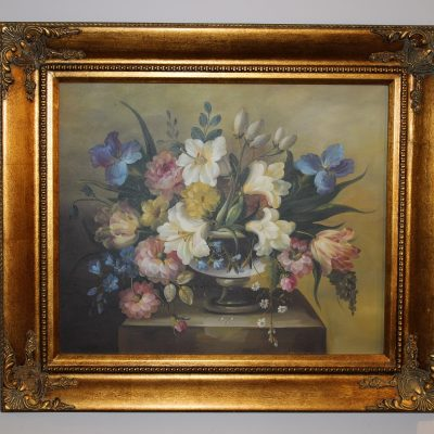 Πίνακας ζωγραφικής με λουλούδια-Ελαιογραφία σε μουσαμά