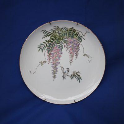 Πιάτο με πουλιά και λουλούδια Shibata Ιαπωνίας 31 εκ