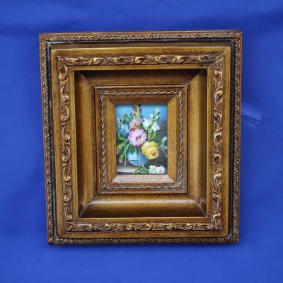 002 Βάζο με Λουλούδια χειροποίητο ξύλινο Καδράκι