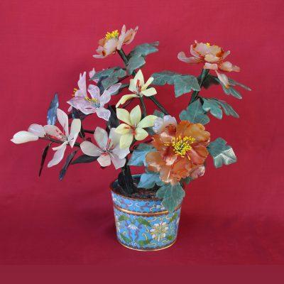 Γλάστρα cloisonné σύνθεσης λουλουδιών και με ημιπολύτιμους λίθους