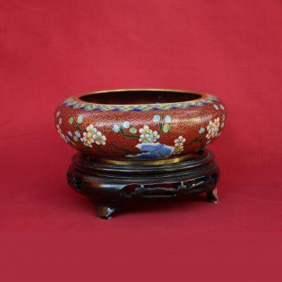 Μπολ Κίνας Cloisoné καφέ με λουλούδια και με ξύλινη βάση