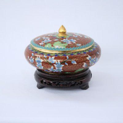 Μπολ σκεπαστό Κίνας Cloisoné καφέ με λουλούδια και ξύλινη βάση