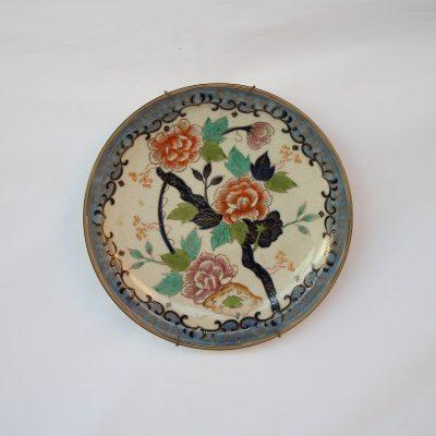 Πιάτο πορσελάνης Μπλε- σιέλ Ιαπωνίας Satsuma με τριαντάφυλλα 24εκ