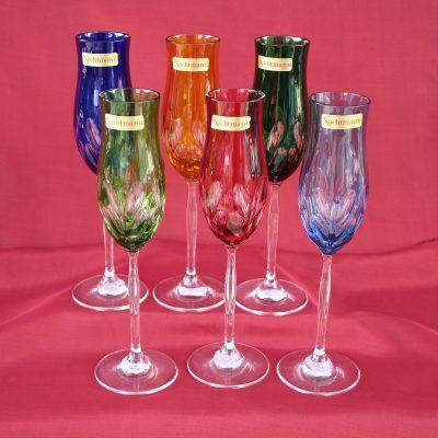 Ποτήρια flute ούζου VERONA Κρύσταλλο NACHTMANN χρωματιστά (σετ 6 τεμ)