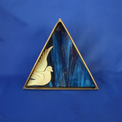 Τρίγωνο μπολ με περιστέρι μπρούτζος με φυσητό γυαλί