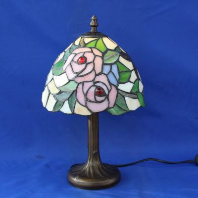 Φωτιστικό βιτρό επιτραπέζιο με λουλούδια 33εκ (τύπου Tiffany's)