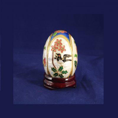 Αυγό μικρό Cloisonné Μπλε Άσπρο με λουλούδια και πουλιά