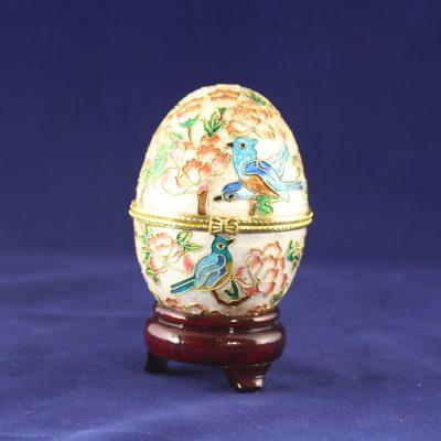 Μουσικό Διακοσμητικό αυγό Cloisonné ανοιγόμενο με πουλιά