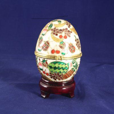Αυγό Cloisonné με φρούτα ανοιγόμενο και μηχανισμό μουσικής