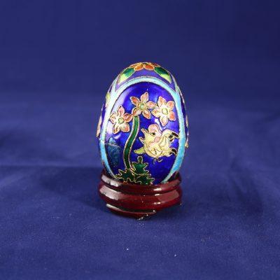 Διακοσμητικό Αυγό μικρό Cloisonné Μπλε με λουλούδια