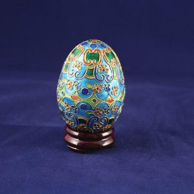 Διακοσμητικό Αυγό Cloisonné Θαλασσί με ανθάκια