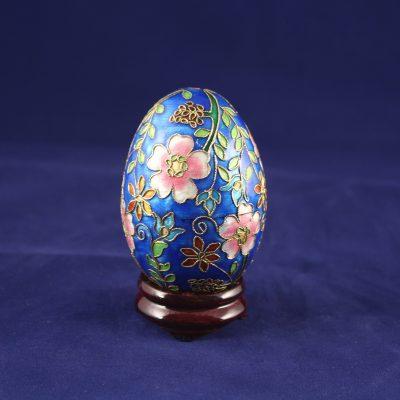 Διακοσμητικό Αυγό Cloisonné Μπλε με λουλούδια πολύχρωμα