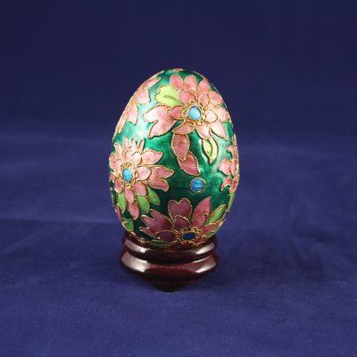 Διακοσμητικό Αυγό Cloisonné Πράσινο με λουλούδια