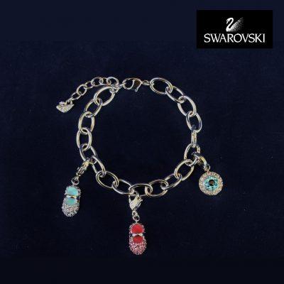 Charm Bracelet Swarovski - Blue Baby Shoe -Pink Baby Shoe -Evil Eye