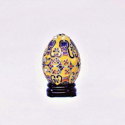 Διακοσμητικό Αυγό Μικρό Κίτρινο Cloisonné με σχέδια και στρας