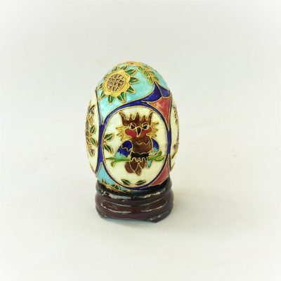 Διακοσμητικό Αυγό μικρό Cloisonné με Κουκουβάγιες πολύχρωμο