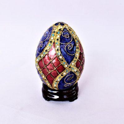 Διακοσμητικό Αυγό Cloisonné με μπλέ & μπορντό ρόμβους