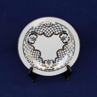 Πιάτο διακοσμητικό από λευκή πορσελάνη με πλατίνα