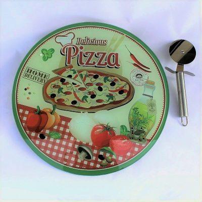 Πιατέλα Σερβιρίσματος Πίτσας 'Delicious pizza' απο πυρίμαχο γυαλί