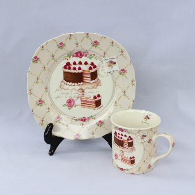 Σετ Πιάτο-Κούπα πορσελάνης Nostalgie σχέδιο τούρτα