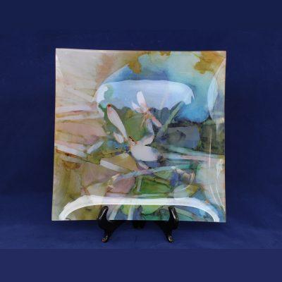 Πιατέλα μοντέρνα από Γυαλί -Γαλάζια Λουλούδια