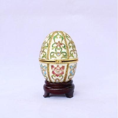 Αυγό Cloisonné με ανθάκια και φύλλα, ανοιγόμενο
