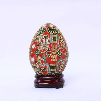 Διακοσμητικό Αυγό Μικρό Cloisonné κόκκινο με σχέδια και στρας