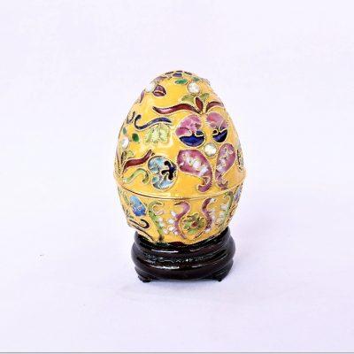 Διακοσμητικό Αυγό Cloisonné Κίτρινο με στρας και σχέδια.