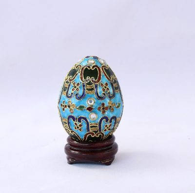 Διακοσμητικό Μικρό Γαλάζιο Αυγό Cloisonné με σχέδια και στρας