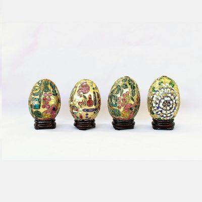 Σετ 4 Διακοσμητικά Αυγά Cloisonné επίχρυσα